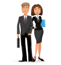 Businessman and businesswoman on a white vector