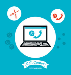 Call center computer technology online vector