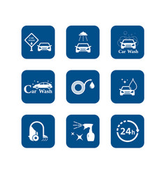 car wash blue icons set vector image