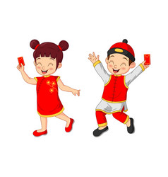 Cartoon chinese kids holding a envelopes vector