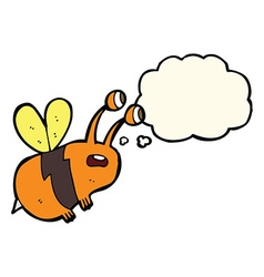 Cartoon frightened bee with thought bubble vector