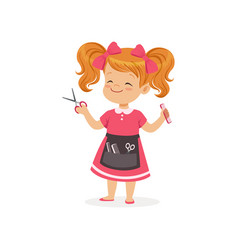 Cartoon preschool girl with apron and barber tools vector
