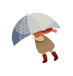 Child walking with blue umbrella windy weather vector