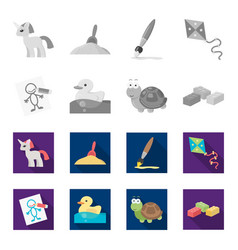 children toy monochromeflat icons in set vector image