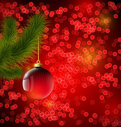Christmas background with red ball and Christmas vector