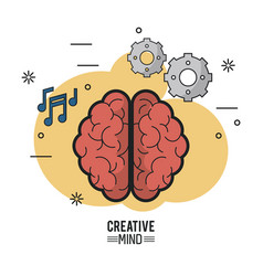 Colorful poster of creative mind with the brain vector
