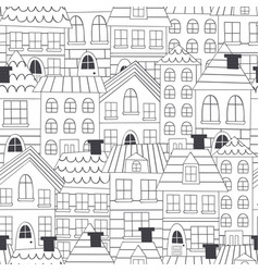 Coloring seamless pattern with houses vector