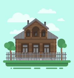 Country brawn house with trees vector