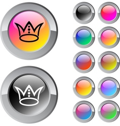 Crown multicolor round button vector