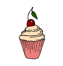 cupcake on a white background vector image