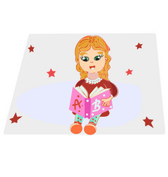 cute little girl in casual clothes reading a book vector image