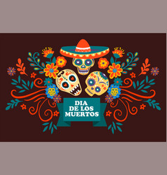 dia de los muertos skulls with sombrero and vector image