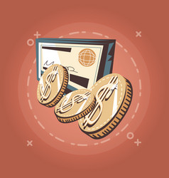 dollar coins and bank check retro shopping style vector image