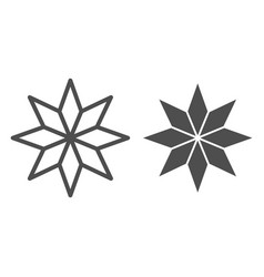 Eight-pointed star line and glyph icon christmas vector