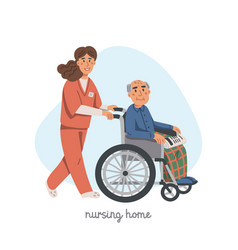 elderly woman in wheelchair and male nurse on vector image