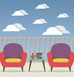 Empty Sofa Interior Set At Balcony vector