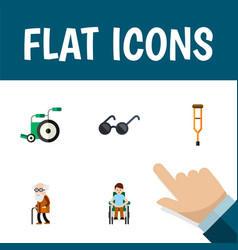 Flat icon disabled set of equipment ancestor vector