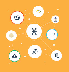 Flat icons horoscope crab augur and other vector