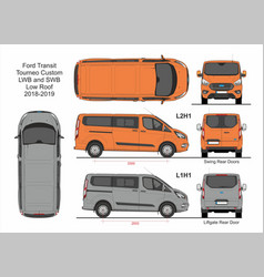 Ford transit tourneo custom l1h1 and l2h1 2018 vector