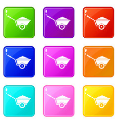 Garden wheelbarrow set 9 vector