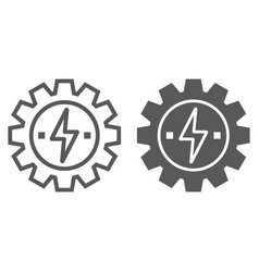 Gear with lightning line and glyph icon ecology vector