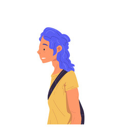 Girl with blue dyed hair wearing yellow t-shirt vector