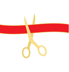 Golden scissors cutting red ribbon isolated on vector