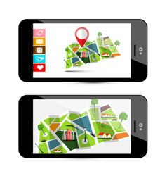 Gps navigation concept with city map - smartphone vector