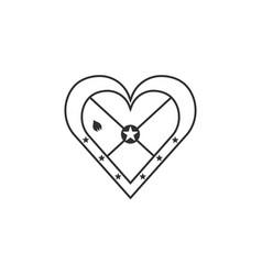 grenada flag icon in a heart shape in black vector image