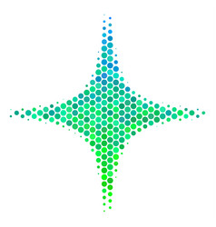 Halftone blue-green space star icon vector