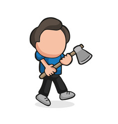 hand-drawn cartoon of lumberjack man holding axe vector image
