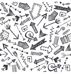 hand drawn doodle arrow pattern set vector image
