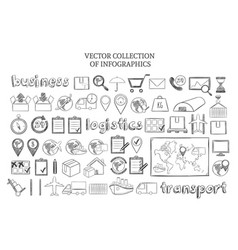 hand drawn infographic logistic elements set vector image