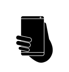 Hand holds smartphone sms chat technology vector