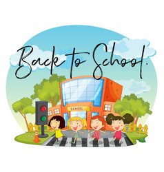 happy children and word back to school vector image