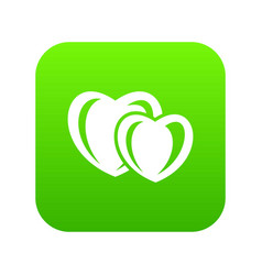 heart love icon green vector image