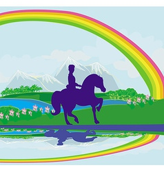 Horseback riding in the summer morning vector