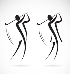 image an male and female golfers design vector image