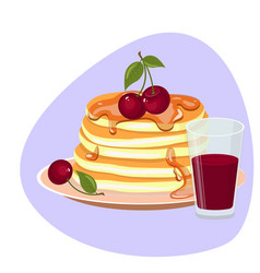 isolated stack of pancakes with vector image