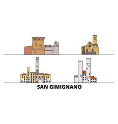 italy san gimignano flat landmarks vector image