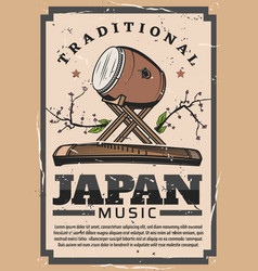 Japanese traditional music instrument taiko drum vector