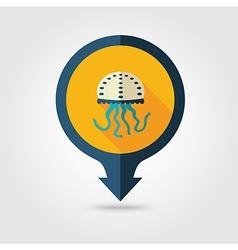 Jellyfish pin map flat icon Summer Vacation vector image