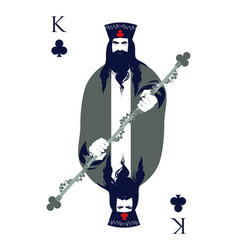 King of clubs with a crown holding a rod vector