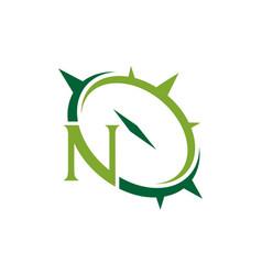 Letter n compass emblem vector