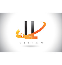 Ll l letter logo with fire flames design and vector