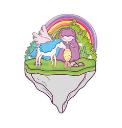 mermaid with unicorn and rainbow in landscape vector image