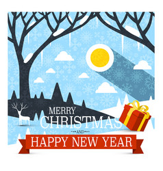 merry christmas and happy new year card with red vector image