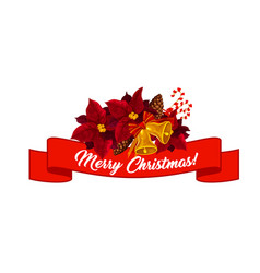 merry christmas poinsettia wreath icon vector image