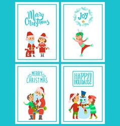 merry christmas santa claus holidays celebration vector image