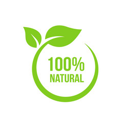 natural leaf icon 100 naturals image vector image
